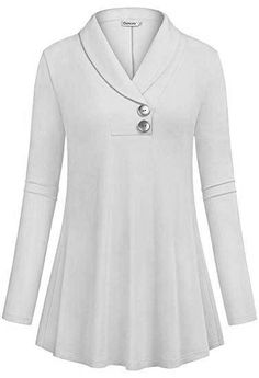 Buy online Ouncuty Women Fall Long Sleeve Tops Shawl Neck Button Down Dressy Blouses Shirts.Women Lightweight Pullover Blouses,Lady Leisure Retro Elongated Workout Loose Maternity Shirts Easy Dry Jersey Sweater Shirts for Outwear Eveing Out Beige Med Long Tunic Tops, Long Sleeve Tops, Blouse Styles, Blouse Designs, Sewing Blouses, Buy Clothes Online, Mode Hijab, Shirt Blouses, Blouses For Women