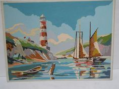 Vtg Paint by Number PBN Nautical Sailboat Lighthouse Seascape 1954 Palmer Paint | eBay