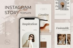 Stylish Instagram Story Template – Free Design Resources Social Media Banner, Instagram Story Template, Online Shopping Stores, Creative Inspiration, Free Design, Photoshop, Templates, Stylish, Stencils