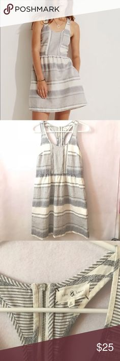 Lou & grey | Linen Striped Dress Lou & grey  Size Small (2)  55% linen and 45% cotton  Length: 34in laying flat  Preowned great condition   (A139) Lou & Grey Dresses