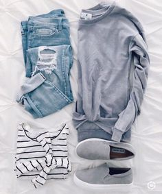 Tie front long sleeve shirt, gray slip on shoes, distressed jeans, light wash.