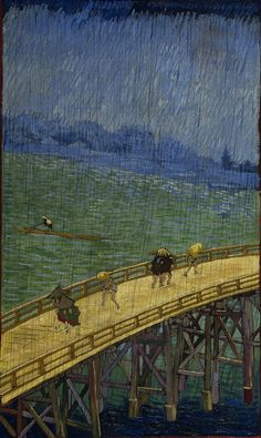 Vincent van Gogh, Bridge in the rain: after Hiroshige (Brug in de regen: naar Hiroshige), Oil on canvas, 1887.