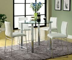 Furniture of America Clarks 5Piece Counter Height Dining Set with White Chairs *** You can get additional details at the image link.