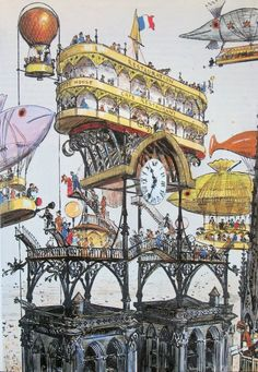 Albert Robida ~ Central Aircraft Station at Notre Dame - Visions of the Future Ville Cyberpunk, Illustrations, Illustration Art, Steampunk Illustration, Albert Robida, Science Fiction, Steampunk Kunst, Bg Design, Neo Victorian