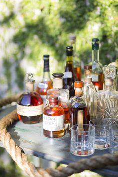 Summer Bourbon Bar & backyard grill-out dinner party idea