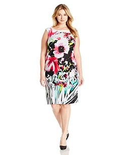 Gabby Skye Womens Plus Size Floral Printed Sheath Dress IvoryRed 22W ** You can find more details by visiting the image link.