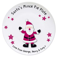 Personalised Santa Mince Pie Thank You Plate  £14.99  Santa will really enjoy his Chrismas mince pies from this jolly plate which can be personalised with your own special message.