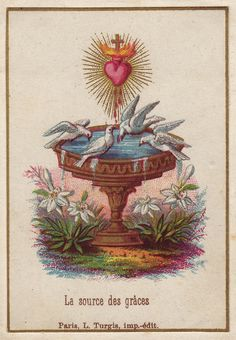 Sacred Heart of Jesus - the source of all graces - Vintage holy card