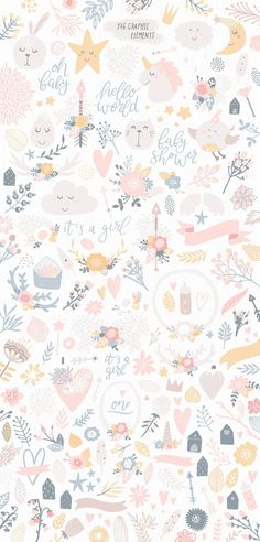 It's a Girl Unicorns and flowers by tatiletters on @creativemarket Trendy draphic design art, perfect for projects, poster, layout, magazine, fashion, business or simple for ideas and inspiration.