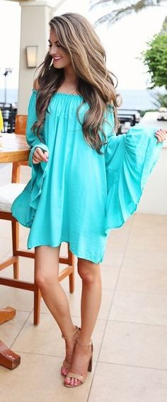 #spring #trends #fashionistas #outfitideas |Teal Off The Shoulder Summer Dress | Southern Curls & Pearls