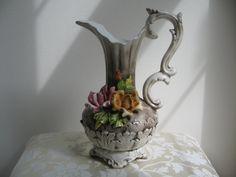 Vintage Capodimonte Pitcher Vase Porcelain by vintagenowandthen,
