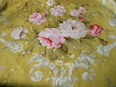 Vintage French Shabby Floral Roses Cartouche Firnishungs Fabric ~Chartreuse Pink Motif Floral, Floral Fabric, Vintage Floral, French Vintage, Color Me Beautiful, Green Accents, Fabulous Fabrics, Pattern Art, Textures Patterns
