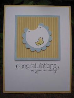 Sweet baby card - never would have thought to use my scallop punch for a bib!