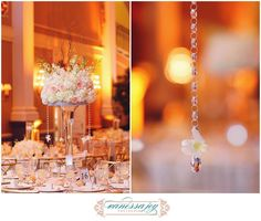 Warm wedding reception details on a cold day complete with Crystal Ice Drops.  The Palace NJ wedding photos by Vanessa Joy New Jersey wedding photographer Table Centerpieces