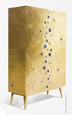 CONTEMPORARY GOLDEN CABINET | Be inspired with this Modern Gold Cabinet | Cabinet Design | Contemporary Cabinets | Discover more  http://buffetsandcabinets.com