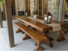 Check out the table Lanette's hubby built for their patio using our plans Way to go! Click the…""