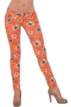 Industries Needs — Printed Skinny Jean Fashion Legging Floral Zip Up...