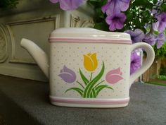 Vintage Ceramic Watering Can Teleflora Collectible 1985 | RefinedVintage - Ceramics & Pottery on ArtFire
