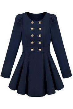 Double-breasted Skirt Hem Design Blue Trench-coat