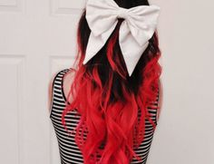 Tumblr Hipster Girls Style | Hipster Girl Fashion Tumblr  Red Hair Dip Dye with white bow