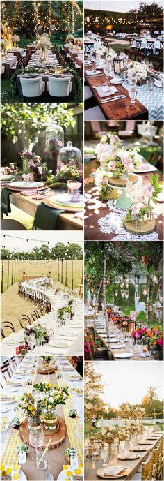 country rustic wedding tablescape decor ideas