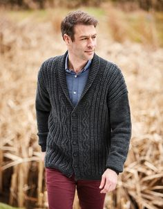 New A/W 2019 Man's Cabled Aran Shawl Neck Cardigan Knitting Pattern - Hayfield 10079 by FenlandGreen on Etsy Mens Knitted Cardigan, Crochet Baby Cardigan, Cable Cardigan, Shawl Collar Cardigan, Cardigan Pattern, Cable Knit, Sweater Cardigan, How To Start Knitting, Knitting Patterns