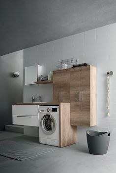 In this workspace there is not a wasted centimeter, thanks to shelves, #furniture and trays that always ensure the best user experience. Laundry Room Design, User Experience, Washing Machine, Home Appliances, Shelves, Furniture, Trays, Bathroom, Environment