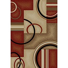 @Overstock - Instantly transform your space with this beautiful multi colored contemporary area rug. Machine woven of soft polypropylene makes for easy care and long lasting durability.http://www.overstock.com/Home-Garden/Arcs-and-Shapes-Red-Rug-710-x-910/6430632/product.html?CID=214117 $136.49