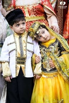 Azerbajani kids on traditional costume