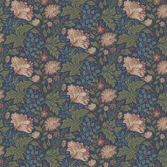 Papier peint fleuri Ava bleu et rose de la collection Brunnsas de Sandberg.