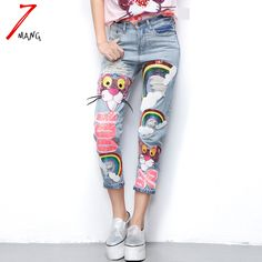 #aliexpress, #fashion, #outfit, #apparel, #shoes #aliexpress, #spring, #summer, #women, #novelty, #harajuku, #cartoon, #leopard, #sequins, #straight, #jeans