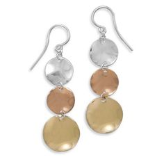 Sterling silver, rose and yellow gold plated graduated triple disc earrings.$65