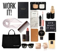 """#ContestOnTheGo #ContestEntry"" by kindaacoolkid ❤ liked on Polyvore featuring Yves Saint Laurent, Prada, Nixon, Benefit, Lipstick Queen, Chanel, Loro Piana, Smythson, NARS Cosmetics and Eyeko"