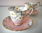Vintage Crown Staffordshire Set of 2 teacups w/ saucers Pink with Flowers and Gold Rims