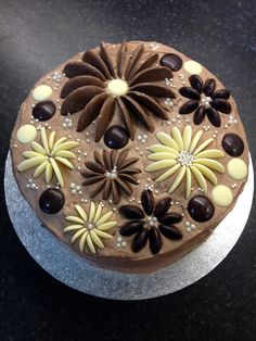 Blooming cake - chocolate cake with chocolate button flowers