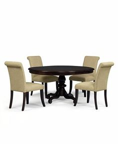 Bradford 5-Piece Round Dining Room Furniture Set with Upholstered Chairs - Shop All Dining Room - Furniture - Macy's