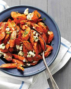 Thanksgiving - Roasted Carrots with Feta and Parsley ** Made with heirloom rainbow carrots. Next time add lemon?