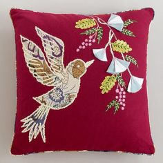 Bird Flight Embroidered Throw Pillow from Picsity.com