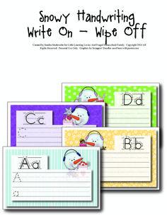 Make handwriting practice fun this winter with these FREE write on-wipe off practice sheets! Kindergarten Writing, Kindergarten Activities, Alphabet Activities, Preschool Ideas, Alphabet Crafts, Literacy, Preschool Curriculum, Homeschooling, Winter Activities For Kids