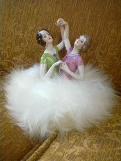 RARE GERMAN DOUBLE FIGURE HALF DOLL OF TWO DANCING GIRLS ON PUFF
