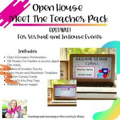 Open House Meet the Teacher Pack   Distance Learning and In Person Meet The Teacher, Teacher Name, Website Banner Images, Class Expectations, Teacher Introduction, Student Survey, Parent Contact, Student Information, Try To Remember