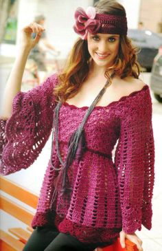 Gypsy tunic ♥LCT♥ with diagram--- Patrones Crochet: Tunica Vestido Patron