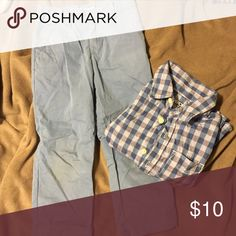 Boys 3t matching button down and trouser set Boys 3t matching button down and pants. Both great condition, only worn a few times. Cherokee brand. Lighting makes if look like stains on pants, but they are stain free. Cherokee Matching Sets
