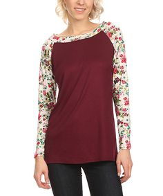 Love this Wine & Ivory Floral Boatneck Top on #zulily! #zulilyfinds