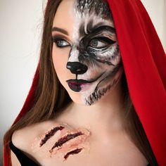 "67 curtidas, 11 comentários - Dominique Laws. Make-up Artist (@dom_mua) no Instagram: ""❤️Little Red Riding Hood/ Wolf Halloween makeup trial, with the beautiful @shai.newsome she is…"""