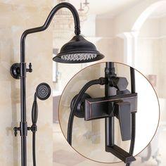 Wall Mount Rain Shower Faucet Set W/hand Sprayer Mixer Tap Oil Rubbed Bronze Shower Faucet Sets, Bronze Bathroom, Rain Shower, Mixer Taps, Shower Heads, Oil Rubbed Bronze, Wall Mount, Sconces, Wall Lights