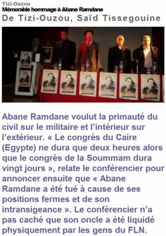 Tizi-Ouzou Mémorable hommage à Abane Ramdane