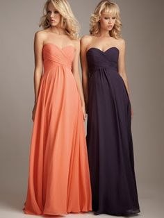 gorgeous! Sweetheart-strapless-neckline-black-long-black-chiffon-bridesmaid-dresses