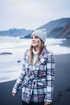 Gal Meets Glam Black Sand Beach - staying warm in my Paige Coat, Jeans and J.Crew Sweater