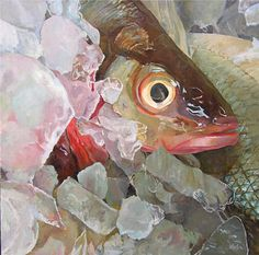 "Daily Paintworks - ""Fish Eye"" - Original Fine Art for Sale - © Elaine Hahn Oil Painting Texture, Oil Painting Abstract, Painting & Drawing, Watercolor Paintings, Fish Paintings, Watercolors, Painting Competition, Painting Still Life, Online Painting"